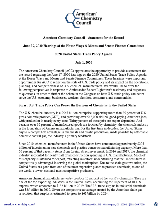 ACC Statement for 2020 U.S. Trade Agenda
